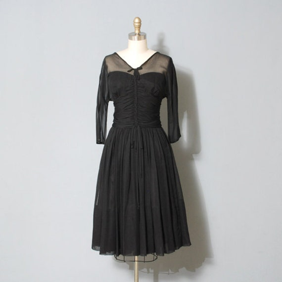 1950s Party Dress Black Braided Sheer Top