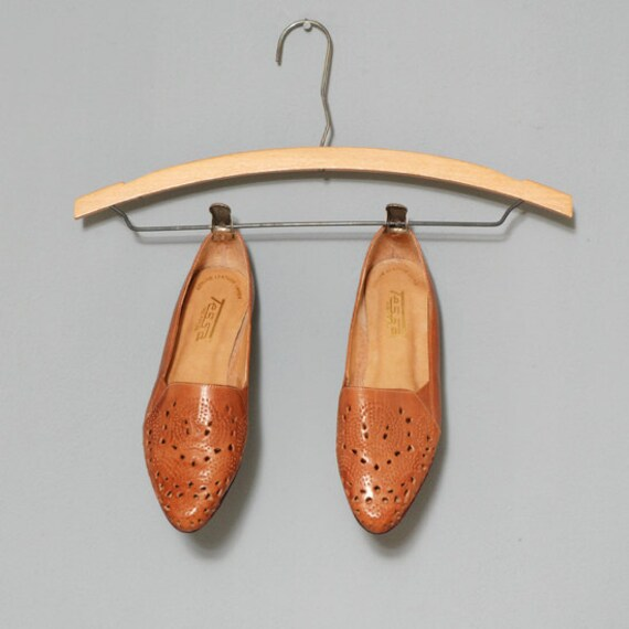 Honey Brown Perforated Leather Sandals Size 7