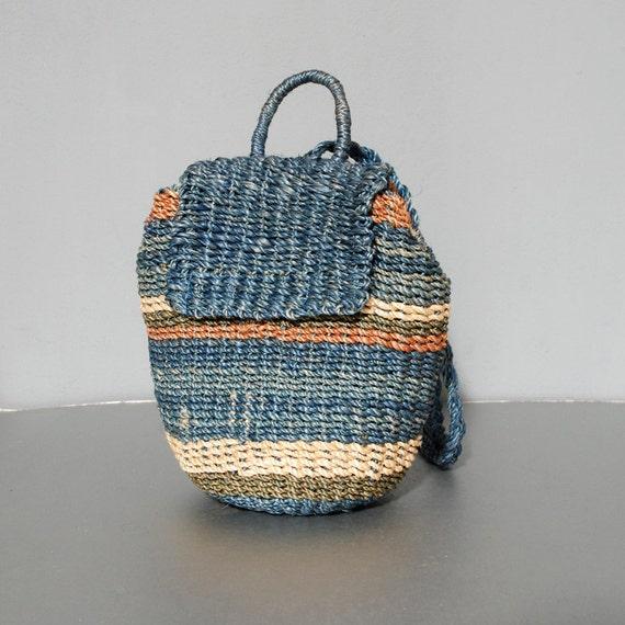 SALE - Woven Straw Blue Stripe Backpack