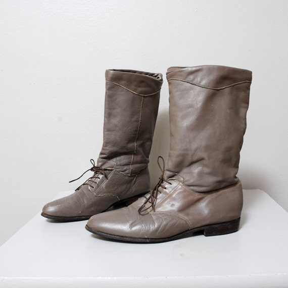Vintage Riding Boots - Size 8 - Mid Calf Gray Leather