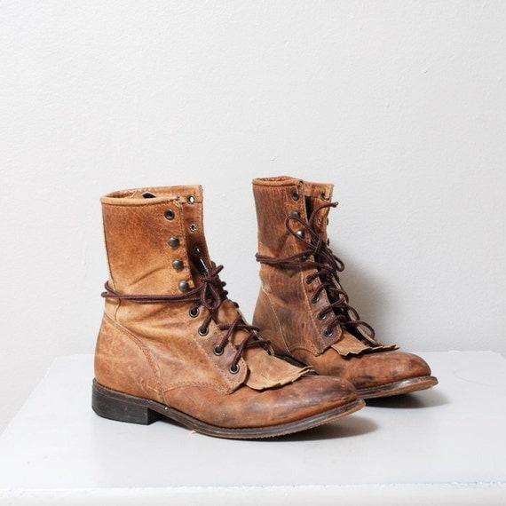 Vintage Brown Leather Kitle Roper Boots Size 8.5