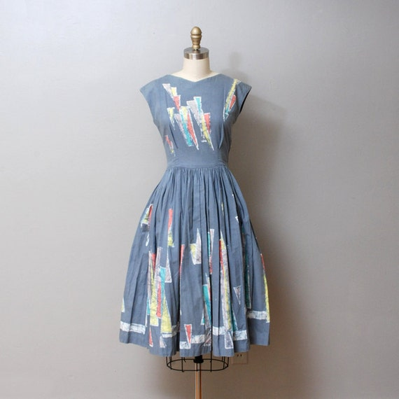 1950s Full Skirt Dress - Pale Blue Batik Print