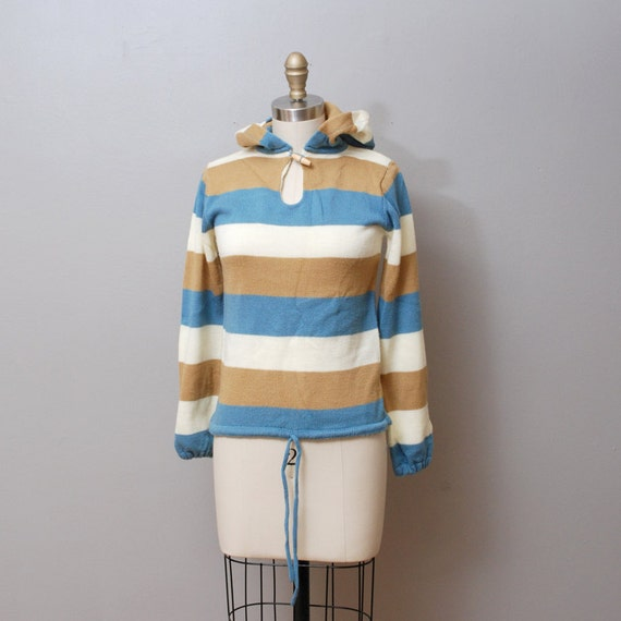 SALE - 1970s Hooded Stripe Sweater with Toggle