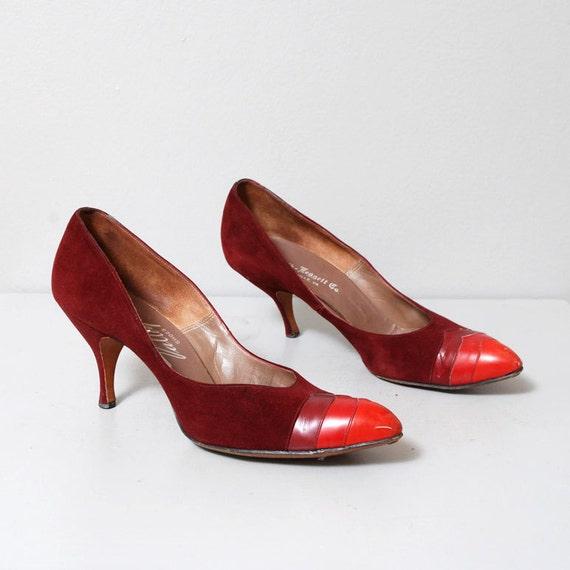 SALE - 1950s Aubergine Pinup Heels Size 7 - 7.5
