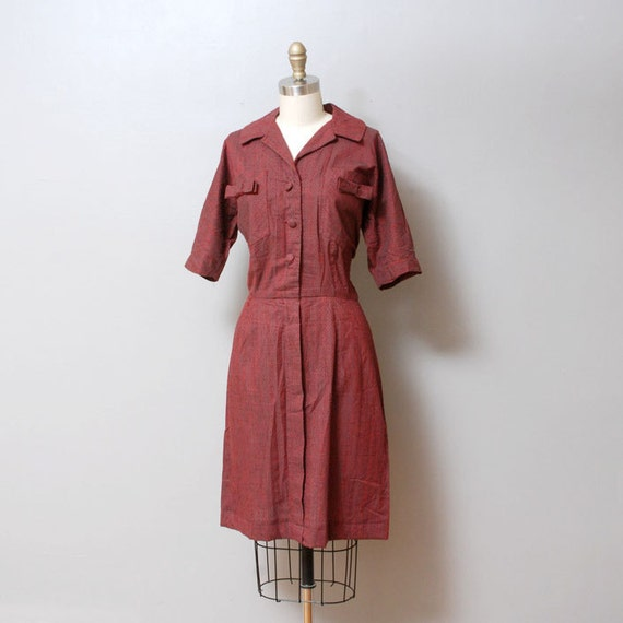 SALE 1950s Dress - Red Shirtwaist Dress - Nubby Texture with Bows