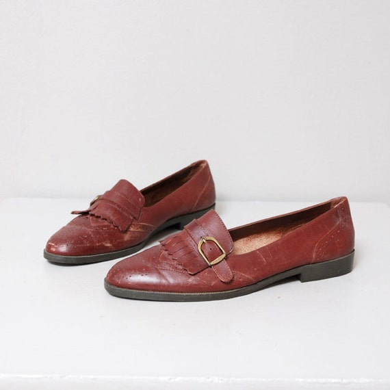 1980s Brown Leather Kiltie Loafers Size 7