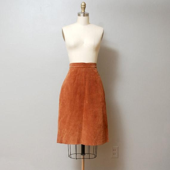 SALE - 1980s Carmel Brown Leather Pencil Skirt