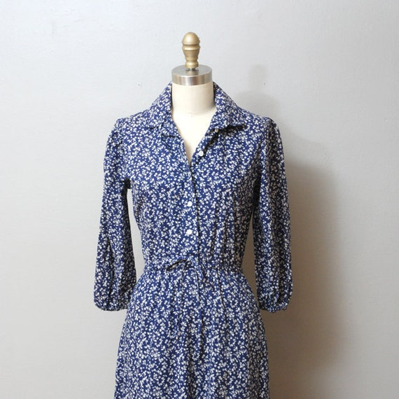 1970s Dress - Navy Floral Boho Dress