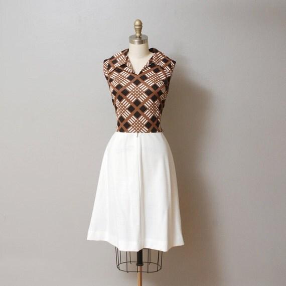 SALE - 1960s Brown and Black Plaid Dress