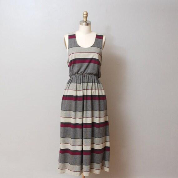 SALE - 1980s Dress - Purple Stripe Tank Dress