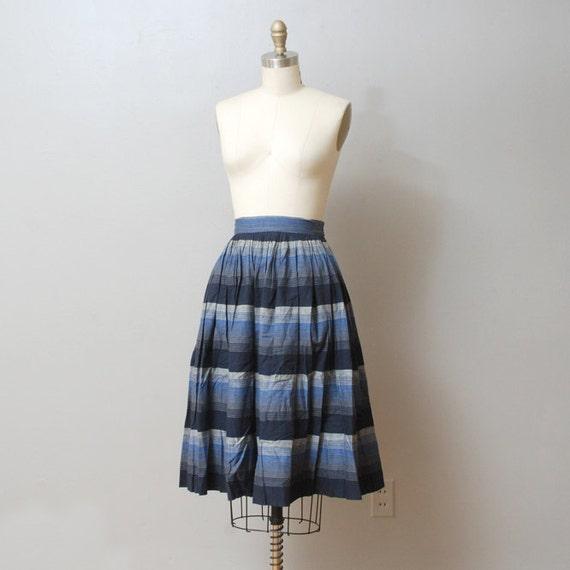 1950s Full Skirt - Blue Stripe Full Swing Skirt