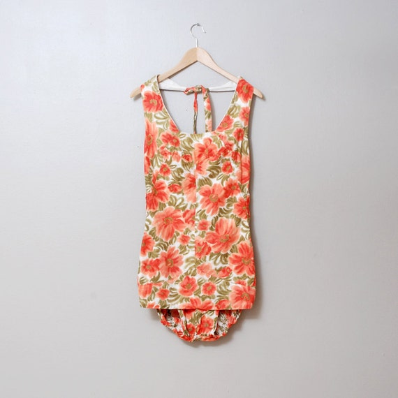 1950s Swimsuit - Peach Floral Maillot Halter Bathing Suit