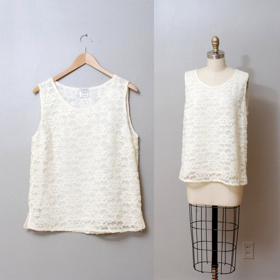 1980s Lace Tank Top - White Lace Tent Blouse