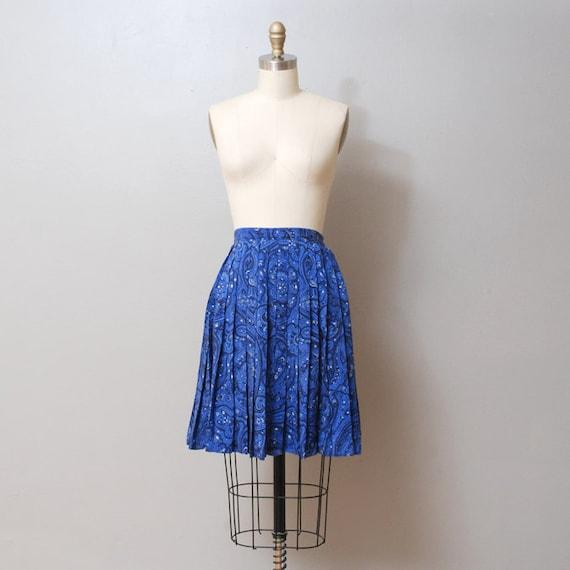 1980s Silk Mini Skirt - Blue Paisley Full Skirt