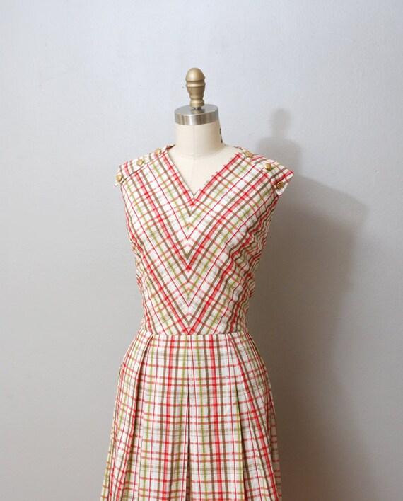 1960s Dress - Pink Plaid Seersucker Full Skirt Dress - Plus Size