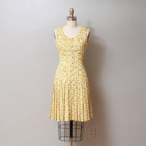 1980s Dress - Yellow Floral Drop Waist Dress