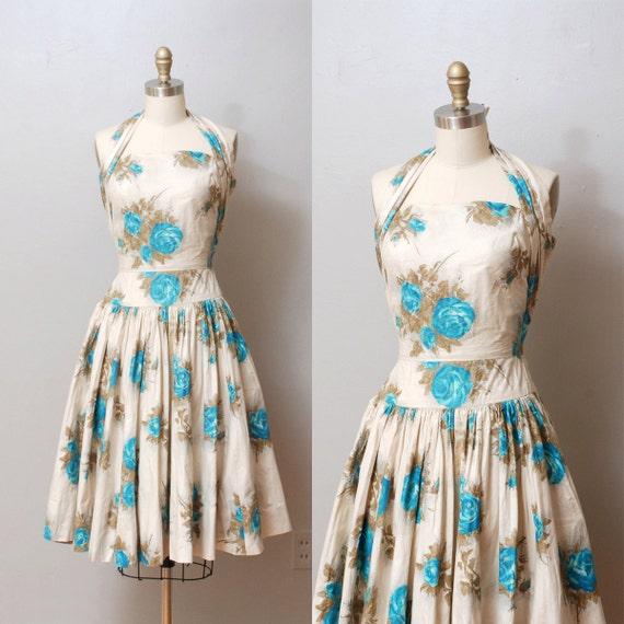 1950s Party Dress - Full Skirt Garden Floral Halter Dress - Bombshell
