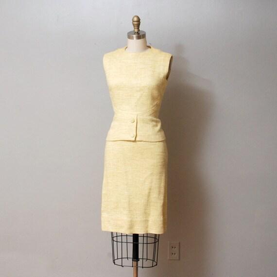 SALE - 1950s Dress - Meringue Yellow Two Piece Dress Set