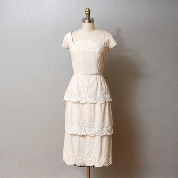 1950s Dress - Ivory Tiered Eyelet Wiggle Dress