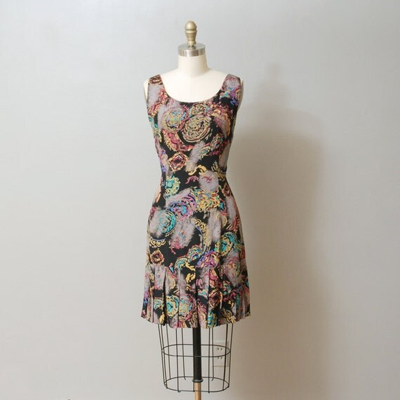 1980s Dress - Drop Waist Black Abstract Print Mini Dress