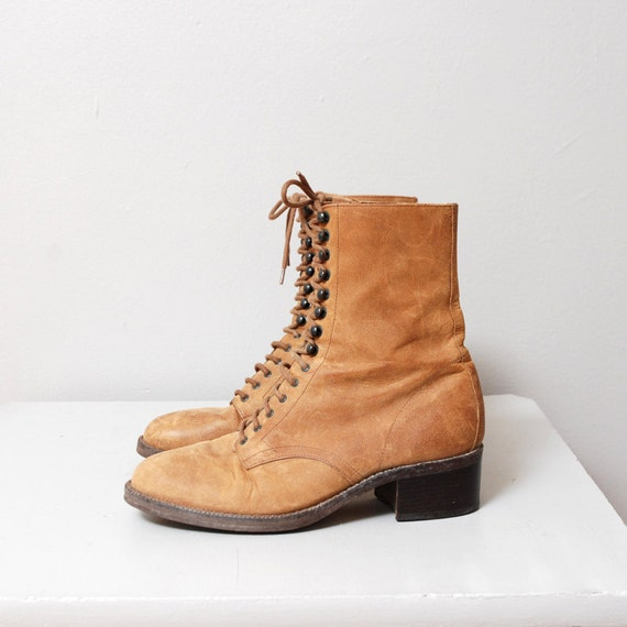 1980s Brown Leather Boots - Eyelet Ankle Boots Size 6
