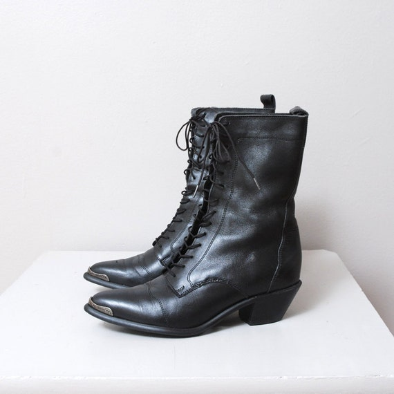 1980s Black Leather Ankle Boots - Dingo Riding Boots - Size 7