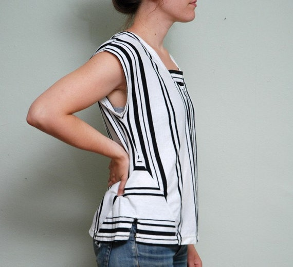 80s Black and White Vertical Striped Shirt