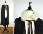 VAMPIRE. Antique Black Satin Cape w/ Rabbit Fur Collar.
