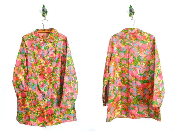 Vintage 60s Raincoat // MOD FLORAL // 1960s Rain Coat