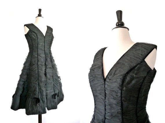 Vintage 50s Dress // NIGHT QUEEN // 1950s Tulle Party Dress