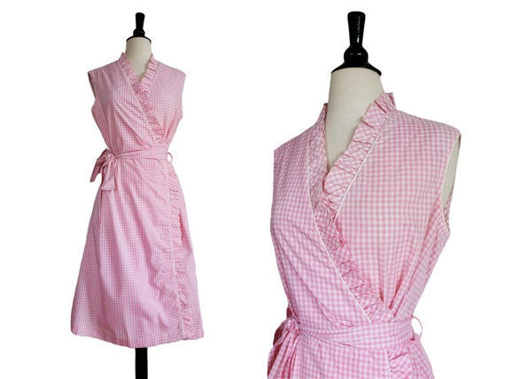 60s Dress // PINK GINGHAM // 1960s Summer Wrap Dress // Size L or XL