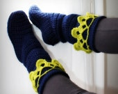 Like Rebekah... hollydoll cozy slipper boots- Navy blue with lime green antique lace-100% wool-all natural-READY TO SHIP