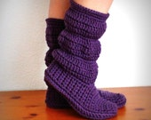 RESERVED for hussey2-  Original hollydoll cozy slipper boots- 100% wool- all natural-Custom order grey and teal