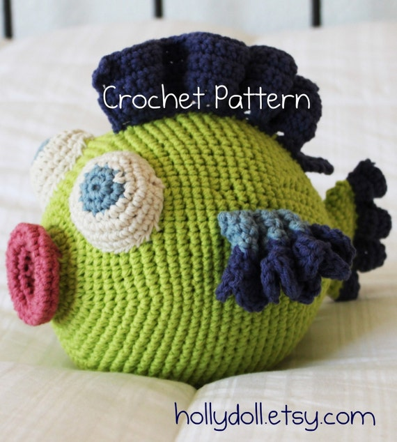 "Crochet Pattern- hollydoll ""Cuddlefish"" plush cotton baby/toddler toy"