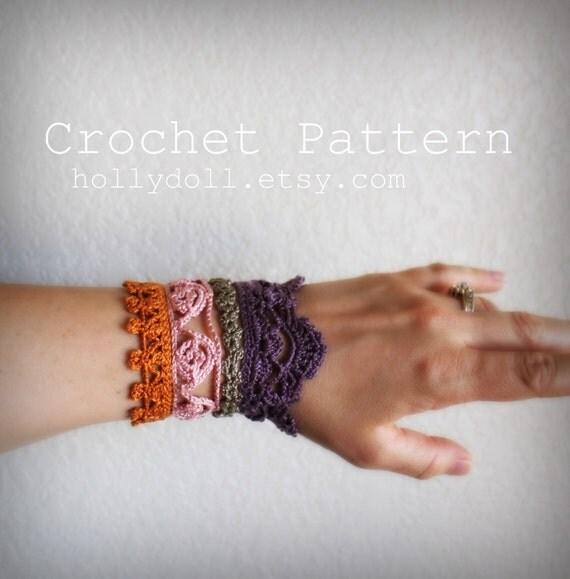 """PDF Crochet pattern- """"plethora"""" antique lace cuff bracelet"""