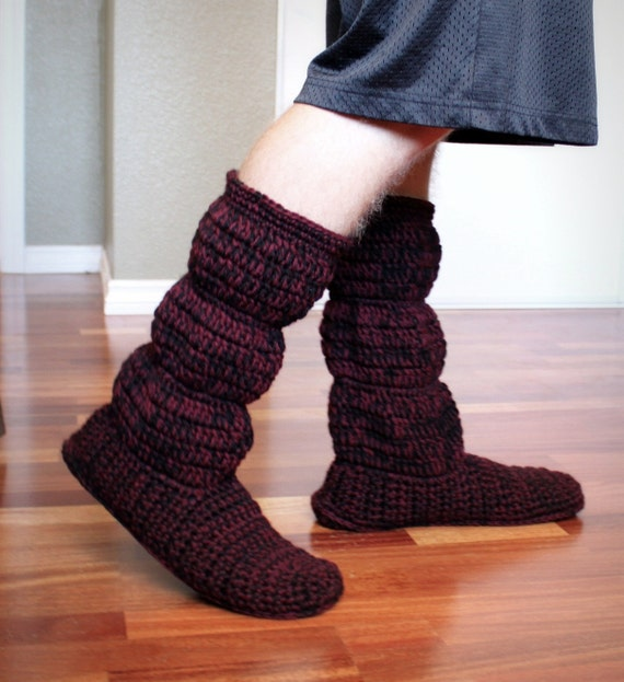 Free Crochet Pattern For Cozy Slipper Boots : Crochet pattern Mens cozy slipper boots instructions for