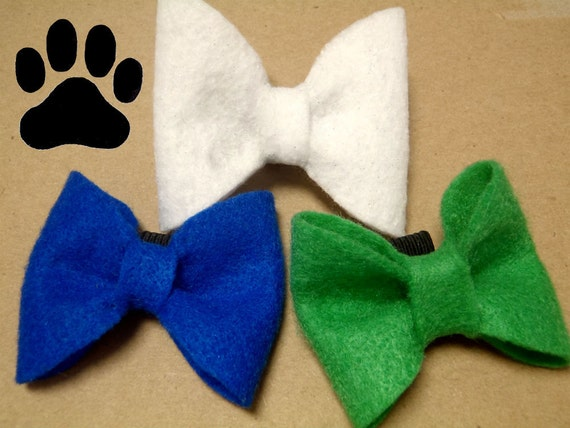 Small White, Blue or Green Bow Tie - Pet Accessory - Christmas
