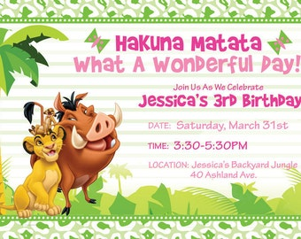 Custom Lion King Invitation