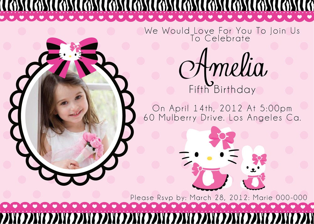 Custom Hello Kitty Invitation