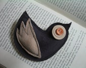 BIRD BROOCH in Purple and Apricot