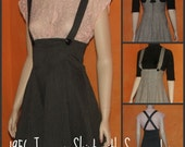 50s Vintage style Rockabilly High Waisted Gored Skirt / Jumper with Suspenders. FOR CUSTOM ORDERS