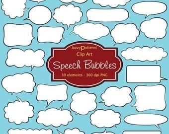 Speech Bubbles clip art CA011 instant download