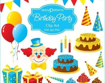 Birthday Party clipart for cards, scrapbooking, invitations (CA001)
