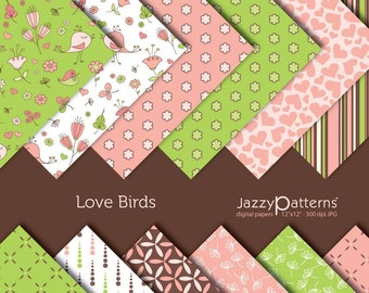 Love Birds digital scrapbooking paper pack DP017 instant download