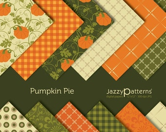 Pumpkin Pie digital paper pack  DP011 instant download 12x12 and 8.5x11 in size