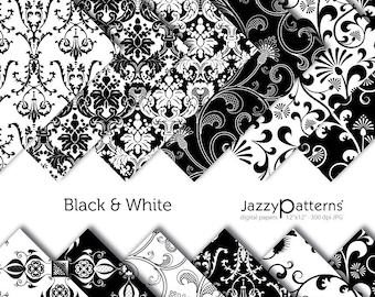 Black & White damask digital paper pack DP036 instant download