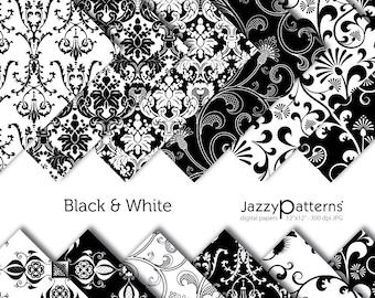 Black & White damask digital scrapbooking paper pack DP036 instant download