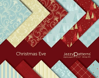 Christmas Eve digital paper pack printable DP028 for scrapbooking and paper crafts instant download
