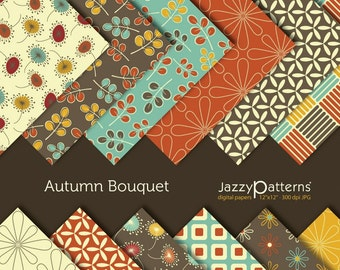 Autumn Bouquet digital paper  pack  DP009
