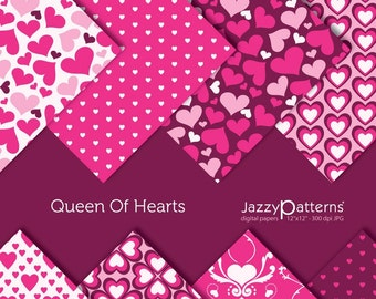 Valentine digital paper pack Queen Of Hearts DP044 instant download